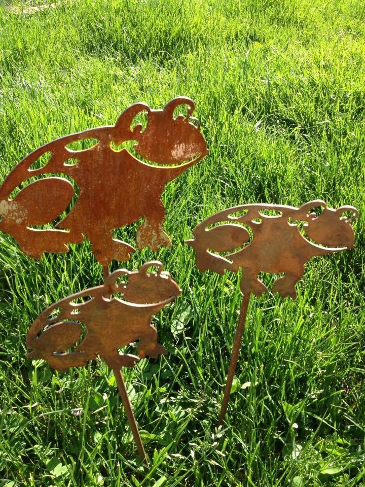 Metal Frog Yard Stake Trio, Ribbit, Yard Art, Yard Décor, Metal Frog