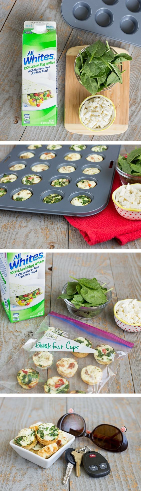 Here are 5 insanely easy breakfast recipes that will give you a morning boost. This healthy Baked Spinach & Feta Egg White Omelet Cups recipe is packed full of protein and is a quick on-the-go breakfast snack. You can make one batch to last a full week. #sponsored *Crazy easy way to start your day with eggs