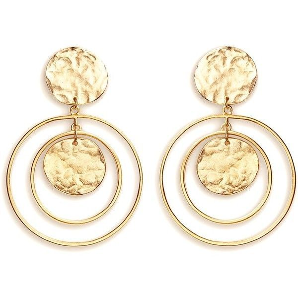 Kenneth Jay Lane Coin charm hoop gold plated drop earrings ($115) ❤ liked on Polyvore featuring jewelry, earrings, metallic, hammered hoop earrings, gold plated earrings, vintage charm, vintage jewelry and coin earrings