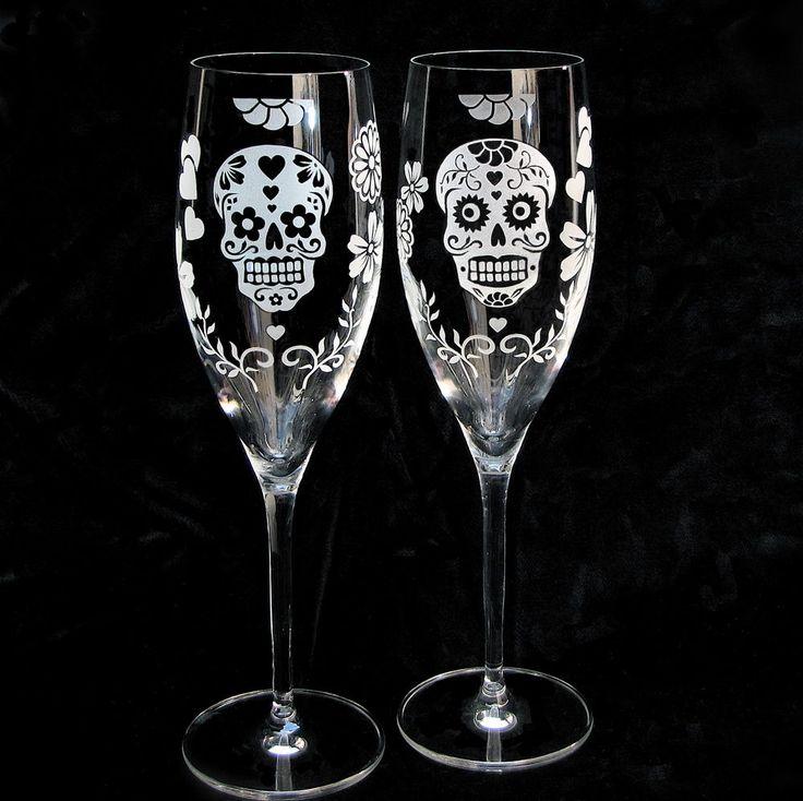 Fiesta Wedding Champagne Glasses, Dia De Los Muertos Wedding Flutes - The Wedding Gallery by Brad Goodell
