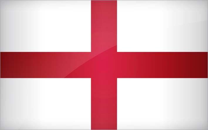 Bandeira Inglaterra - As pessoas fazem confusão entre as bandeiras da Inglaterra e do Reino Unido. A da Inglaterra consiste numa bandeira branca com a cruz de São Jorge (imagem acima). A do Reino Unido funde as cruzes das bandeiras dos países que dele fazem parte.