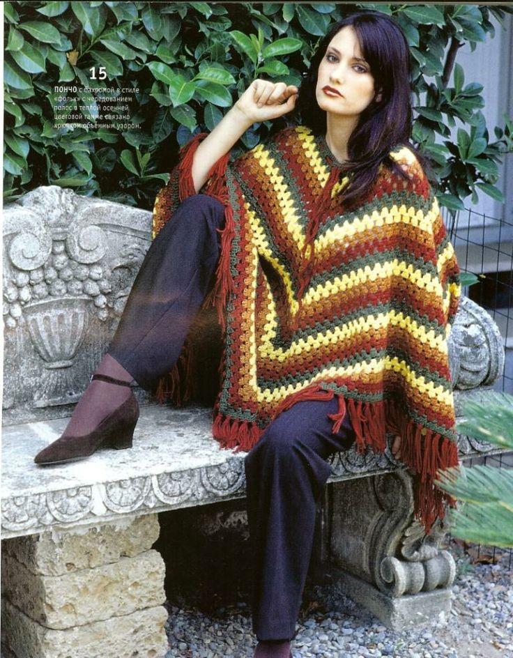 Ruana  tejida en crochet , con diferentes colores, muy facil de hacer