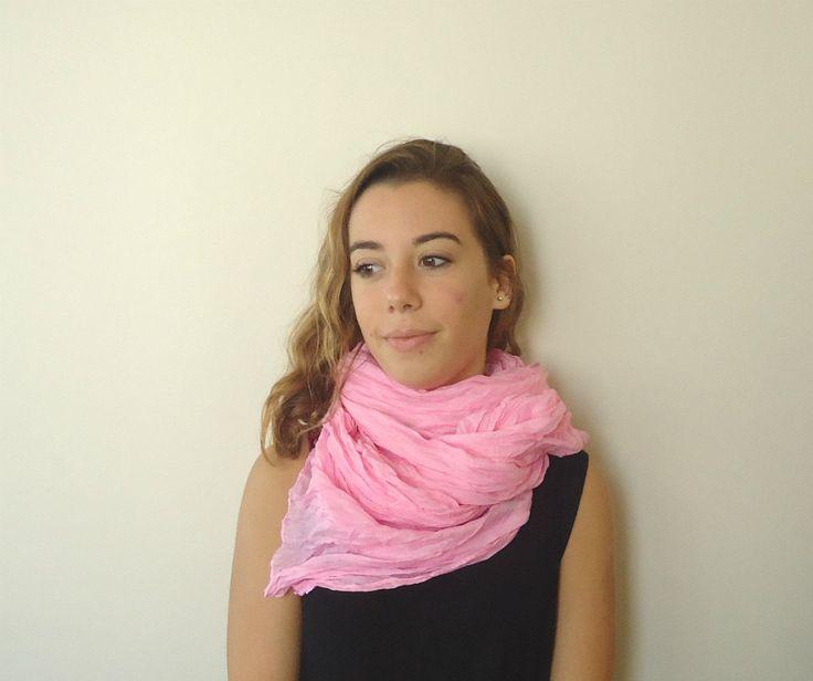 Pink Crinkle scarf,neckwarmer,fabric scarf,geometric wrinkled scarf,long scarf by MARYsworks on Etsy