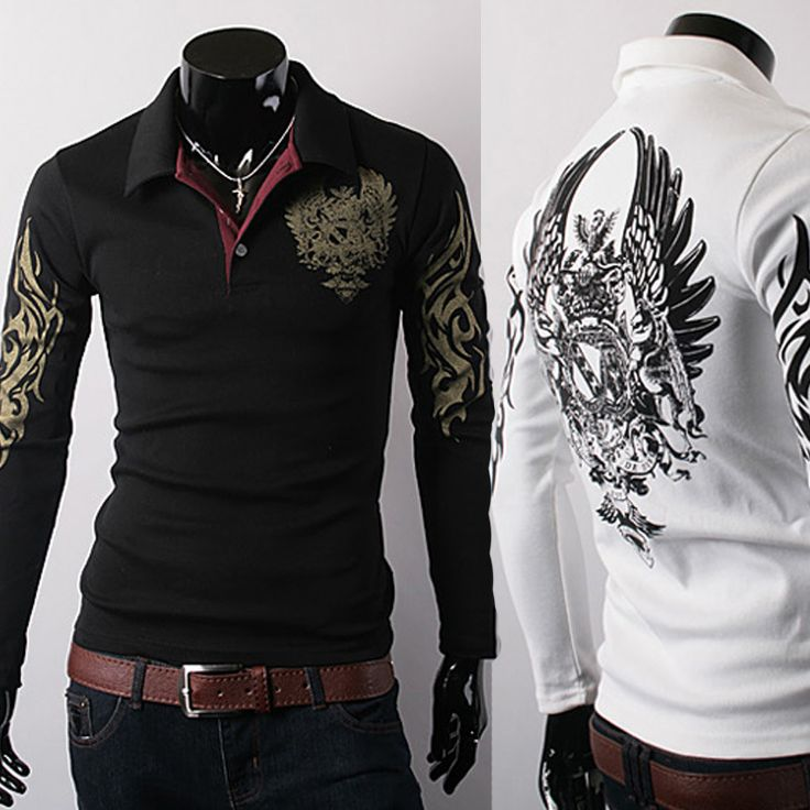 Free shipping New 2014 Hot Eagle Embroidery Design Fashion Designer Men's Long-sleeved Polo Shirt Polo Men Sweater Men Shirts(China (Mainland))