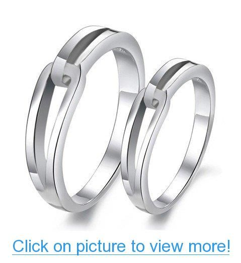 His Hers Matching Set Platinum Plated Couple Ring Wedding Band Set
