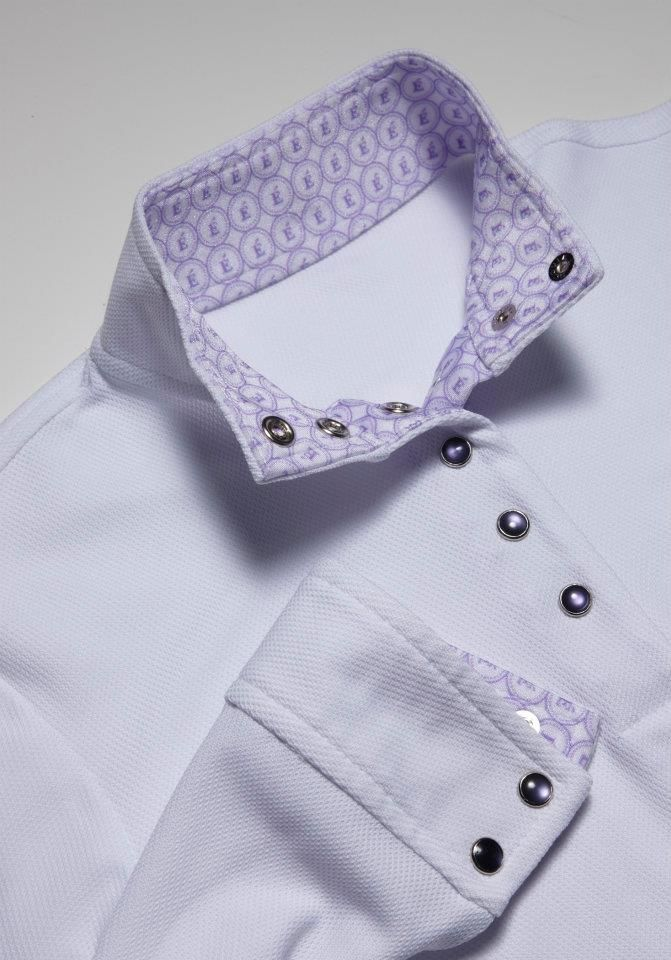 Lavendar collar with lavendar snaps (also available with white or black snaps) - Éce Ladies Long Sleeve Competition Show Shirt