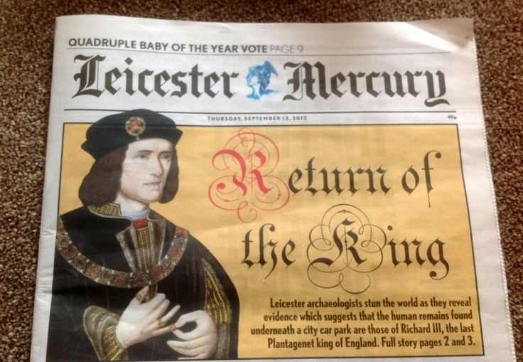 This is today's headline in the Leicester Mercury. How wonderfull slinky tyder wanted to be thought of as King Auther rencarnated.. Bet he never got THIS HEADLINE.! phhhttt take that ya nasty usurping Tyder!