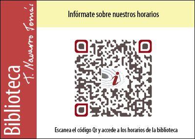 Código QR de acceso a los horarios de la Biblioteca Tomás Navarro Tomás.