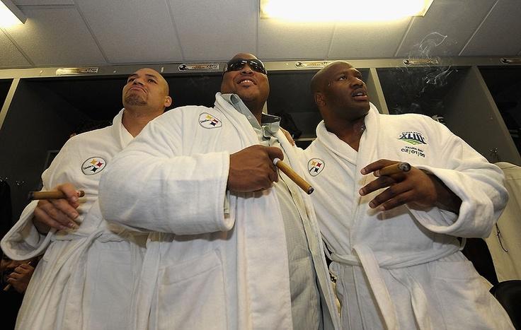 James Farrior, Casey Hampton and James Harrison celebrating after Super Bowl XLIII