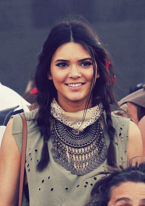 Trending Fashion Style: The Scarf. Kendall Jennerin bandana scarf choker layered over rustic tribal statement necklace at Coachella 2014.