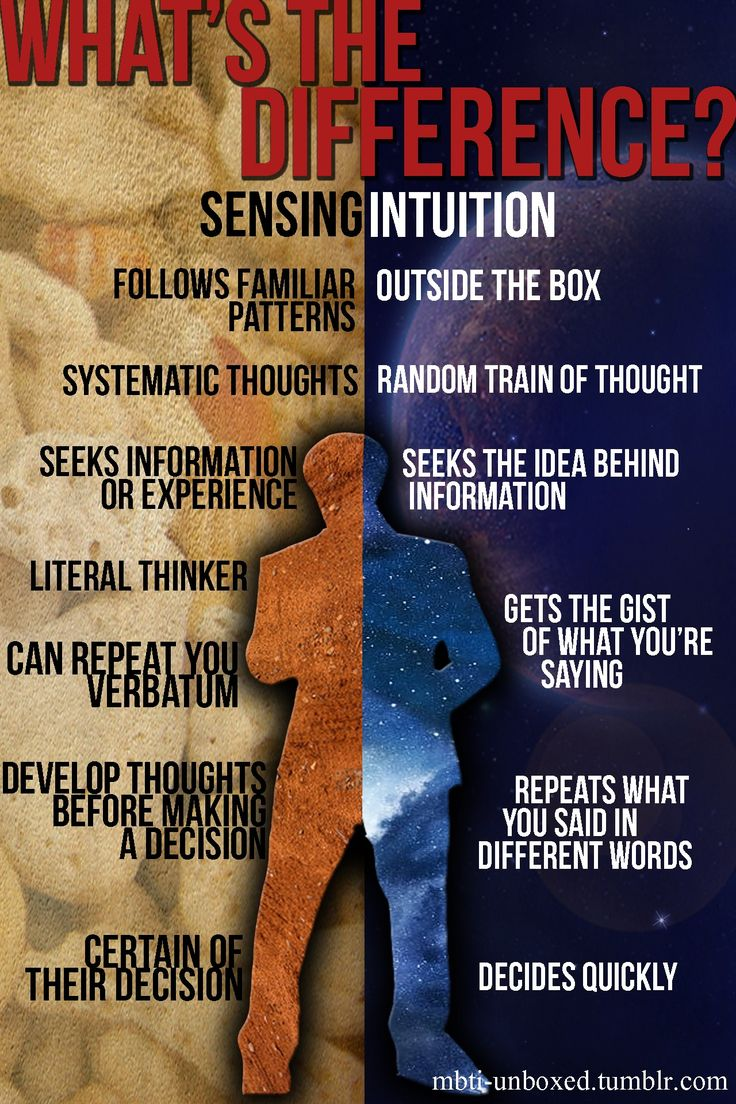 Sensing/Intuition comparison. The Intuition one is soo me!