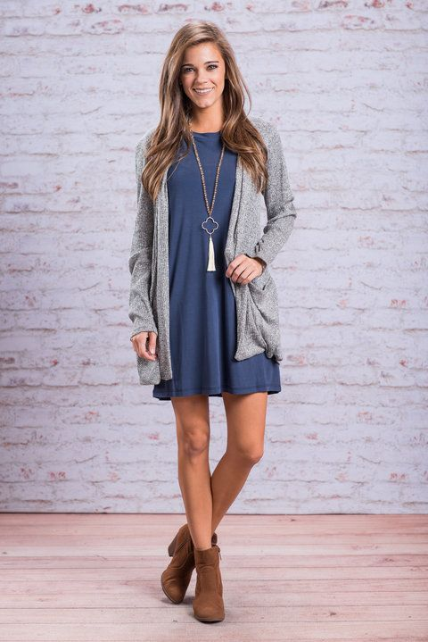 """""""Sweet and Slouchy Cardigan, Gray"""" This cardigan is totally sweet and slouchy in the best way possible! We assume this is why you have loved it in other colors! #newarrivals #shopthemint"""