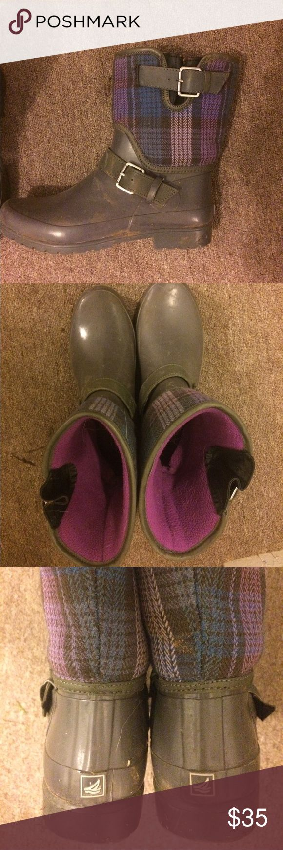 Sperry rain boots Sperry ankle rain boots. Gray with purple and blue plaid pattern. Warm fleece lining. Very cute! Can clean before shipping Sperry Shoes Winter & Rain Boots