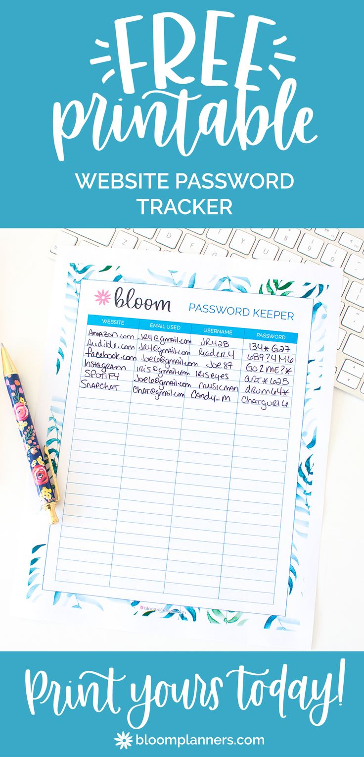 Free website username and password tracker from bloom