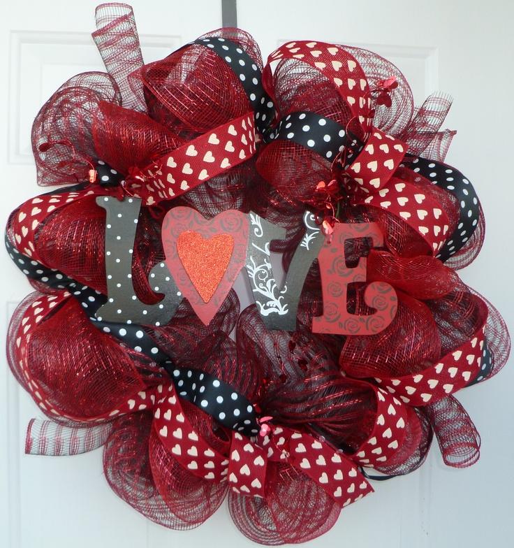Love Deco Mesh Wreath I Made This Pinterest Wreaths