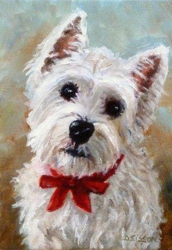 Westie Puppy Oil Dog Painting Pet Portrait Art Animals West Highland Terrier -- Debra Sisson