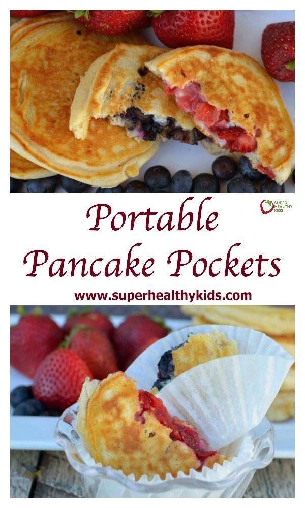 Portable Pancake Pockets. Try this portable pancake recipe when you need breakfast on the go!  http://www.superhealthykids.com/portable-pancake-pockets/