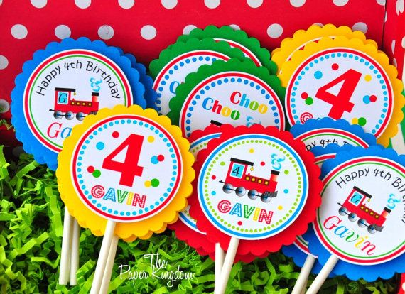 Choo Choo Train Cupcake toppers, festa di compleanno di Choo Choo Train, treno partito decorazioni - Set da 12
