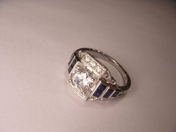 Magnificent Antique Art Deco 18K White Gold 1.5 Solitaire Diamond Sapphire Engagement #Ring Band #etsy #jewelry
