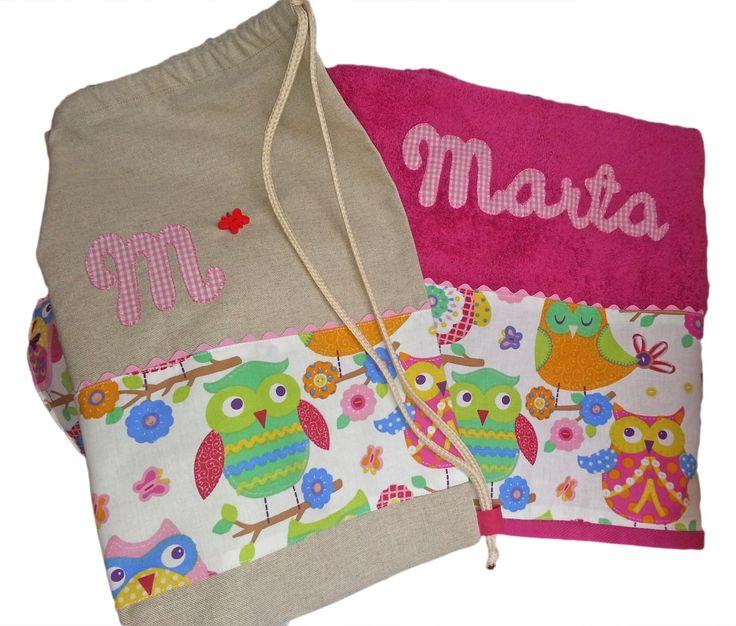 El Dedal Artesano: Toalla y bolsa mochila personalizada