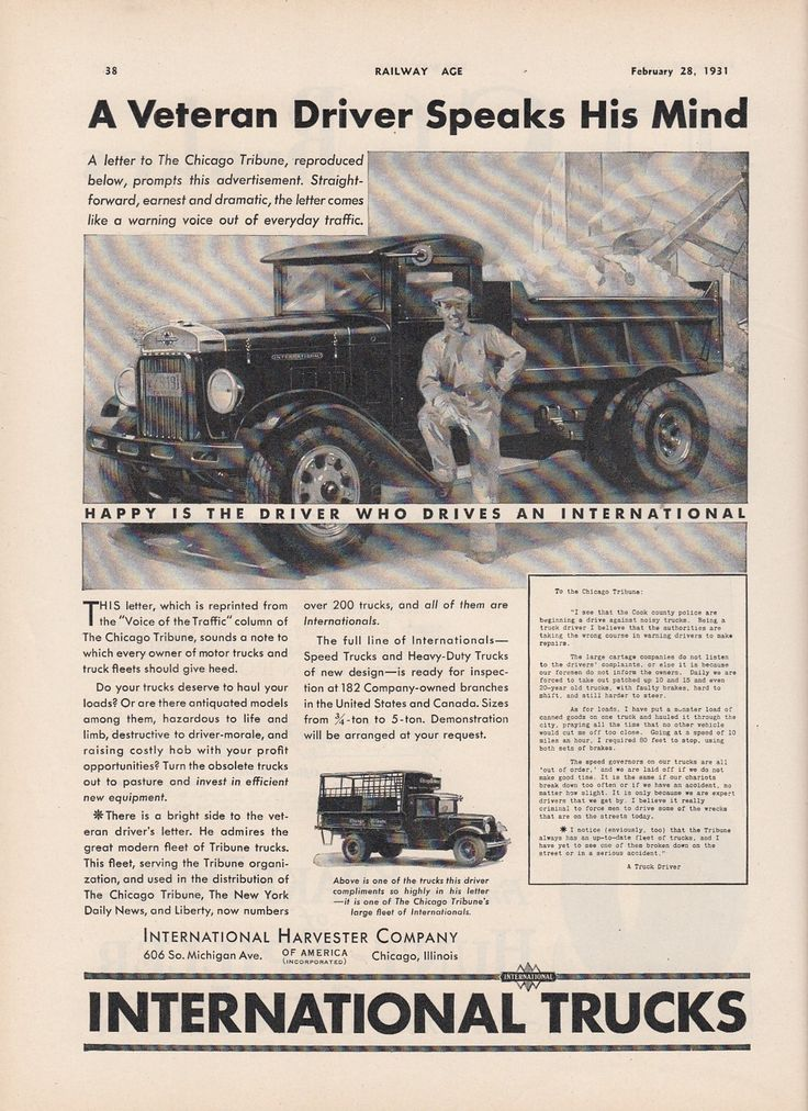 1931 IH International Harvester Truck Ad Driver for Chicago Tribune Newspaper | eBay