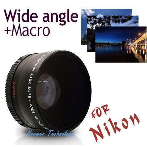 Объектив Neewer 52мм 0,45х  со , линзы со сверхшироким углом обзора, линзы +возможность макросъемки + чехол для линз для фотоаппаратов Nicon D5000 D5100 D3100 D7000 D3200 D80 D90. Бесплатная доставка