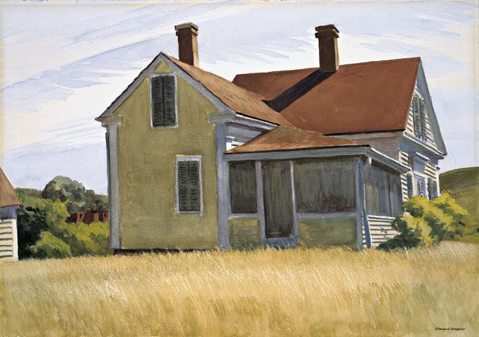Edward Hopper: Marshall House, Watercolor, Carter House, Children, House 1932, Marshalls House, Painting, Edward Hopper, Hopper Edward