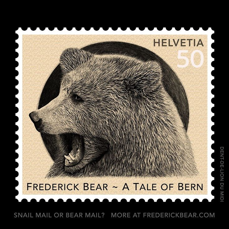 """Ive always had a fascination with all things Philatelic and through various circumstantial events I was encouraged to develop one of the illustrations from my new book """"Frederick Bear -A Tale of Bern"""" for Swisspost.  This work is called Growl and is the penultimate drawing in the book. The illustration was done completely on the iPad Pro with the Apple Pencil at 8K resolution! I combined this drawing in Photoshop in many layers to craft a postage stamp from it."""