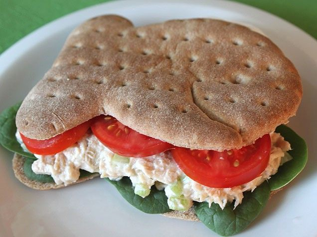 Light & Healthy Tuna Sandwich -  swapping out the mayo for a blend of light mayo & greek yogurt - paired up with whole wheat bread (or wrap), spinach, and tomato.