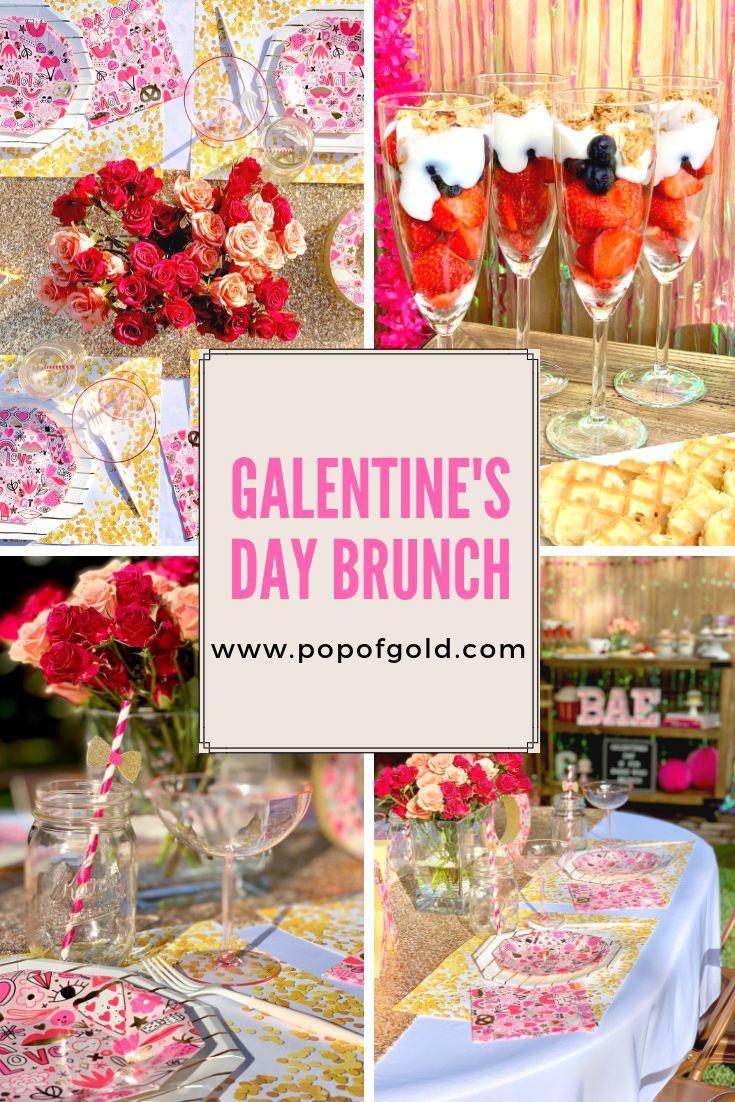 Galentine S Day Brunch Inspo Pop Of Gold Valentines Brunch Valentines Party Decor Galentines Party