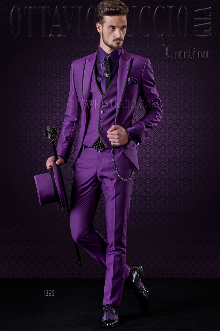 #Purple #wool blend #wedding #suit with #black contrast trims. #tuxedo #weddings #madeinitaly