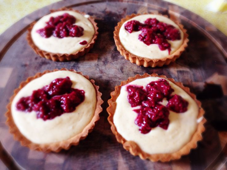 Custard Tarts with boysenberries