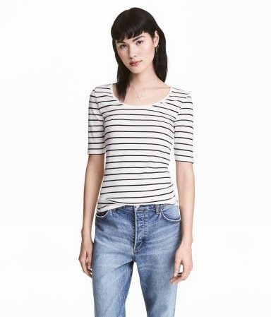 Jersey Top | White/striped | Women | H&M US