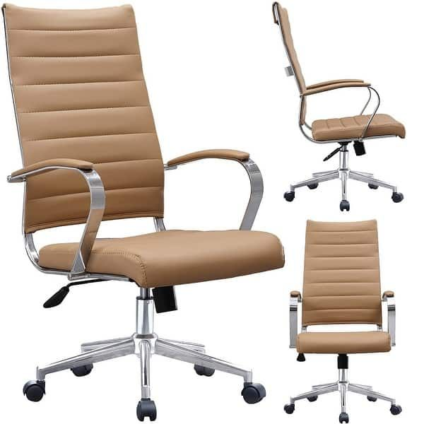 2xhome Modern Tan High Back Office Chair Ribbed Pu Leather Swivel