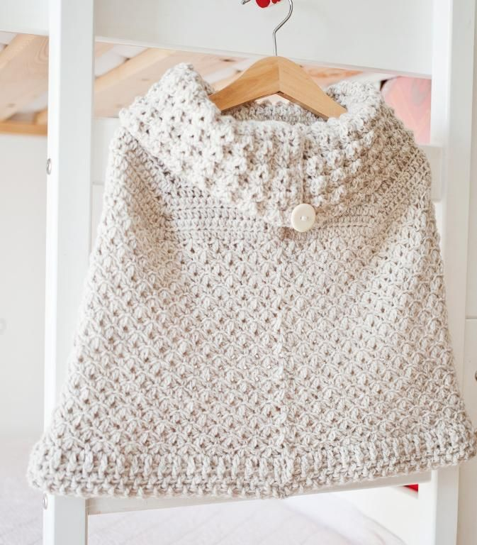Poncho With Oversized Collar Crochet Pattern Baby Poncho Toddler