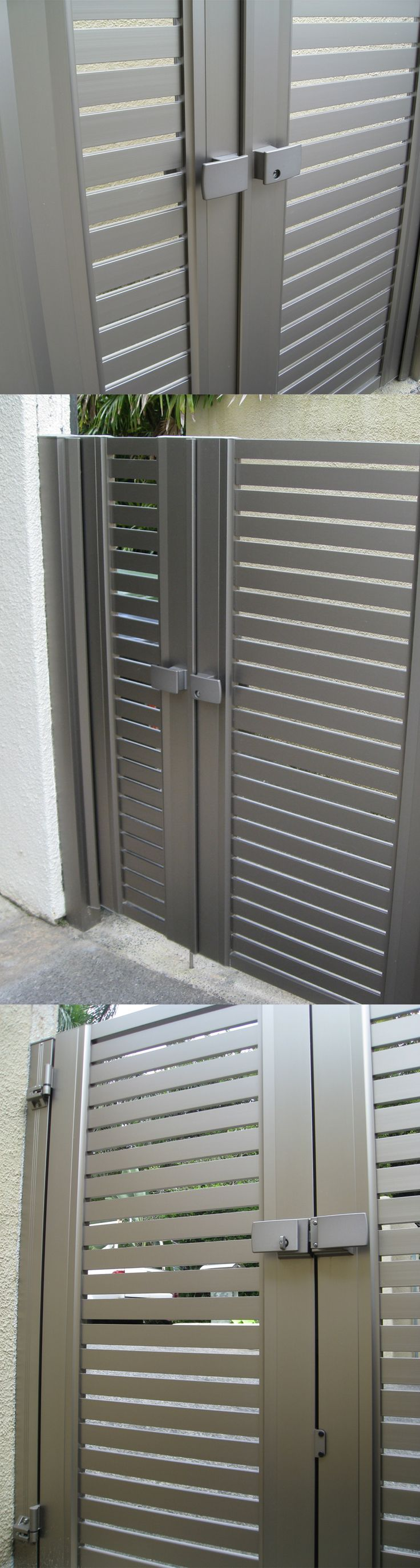 Japanese aluminum gate MEX style#7 with horizontal slats gives privacy with airflow. See more MEX gates here https://kunkelworks.com/wp-content/uploads/2015/11/kunkelworks-mex-gates.pdf