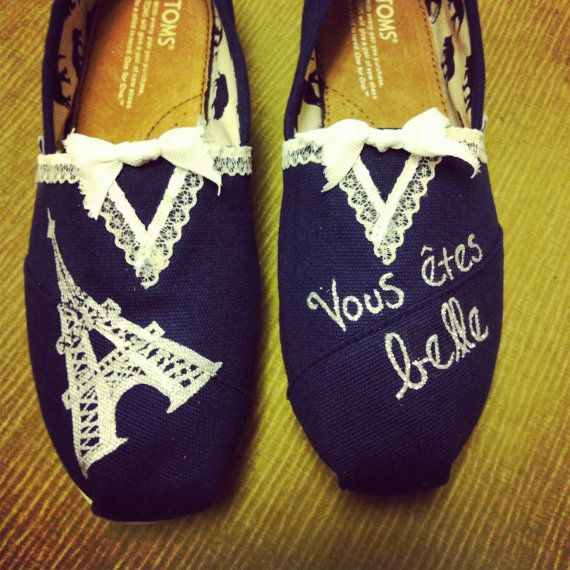 Custom Women's French Lace Paris Toms Shoes by specklesofpaint, $100.00
