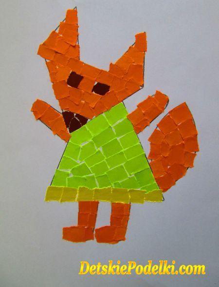 Обрывная аппликация » Детские поделки. Детский сайт с поделками из бумаги и фетра.