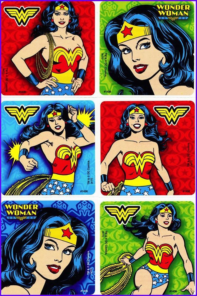 Wonder Woman Stickers x 6 - Classic - Super Heros - Supergirls - Cover door with stickers