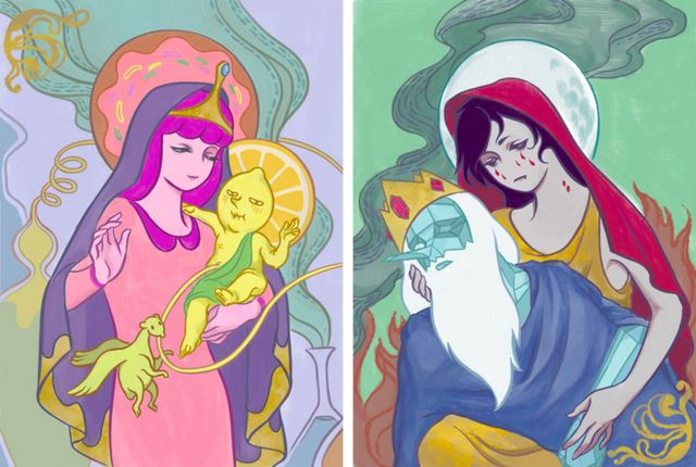 Adventure Time's Princess Bubblegum and Marceline as Modern Madonnas by Illustrator micro cosmo