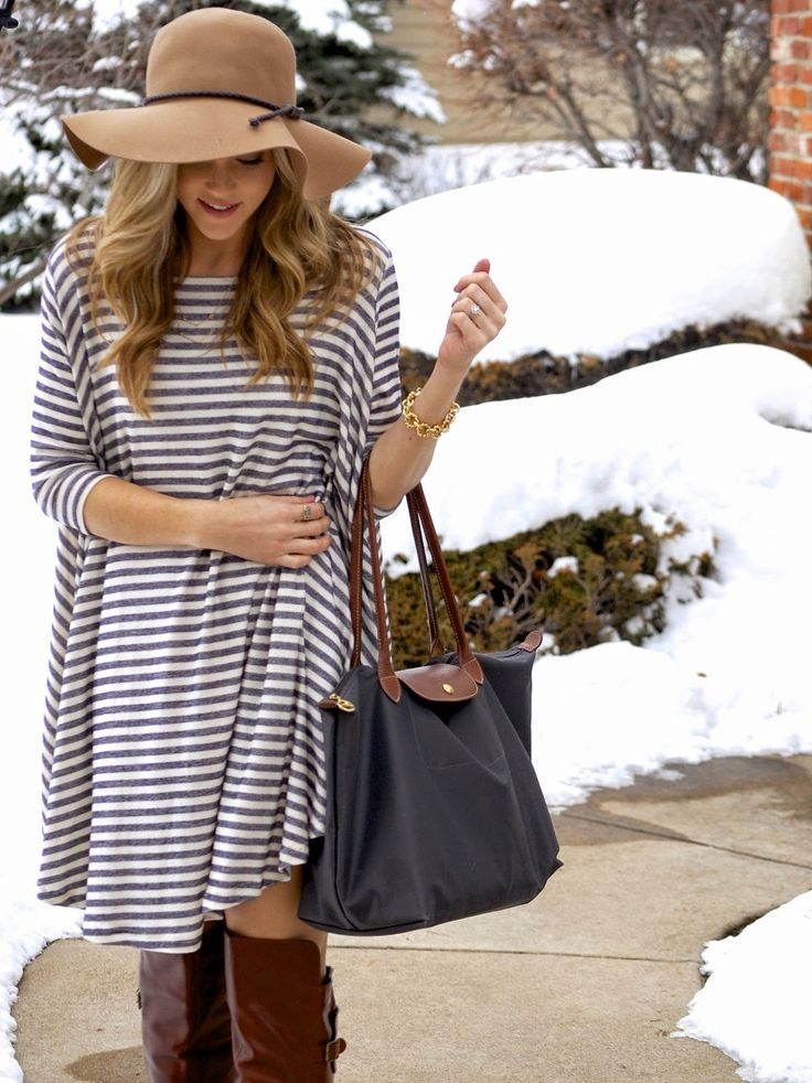 Black And White Stripes Shift Dress Brown Floppy Hat Brown Boots Fall Fashion Curled