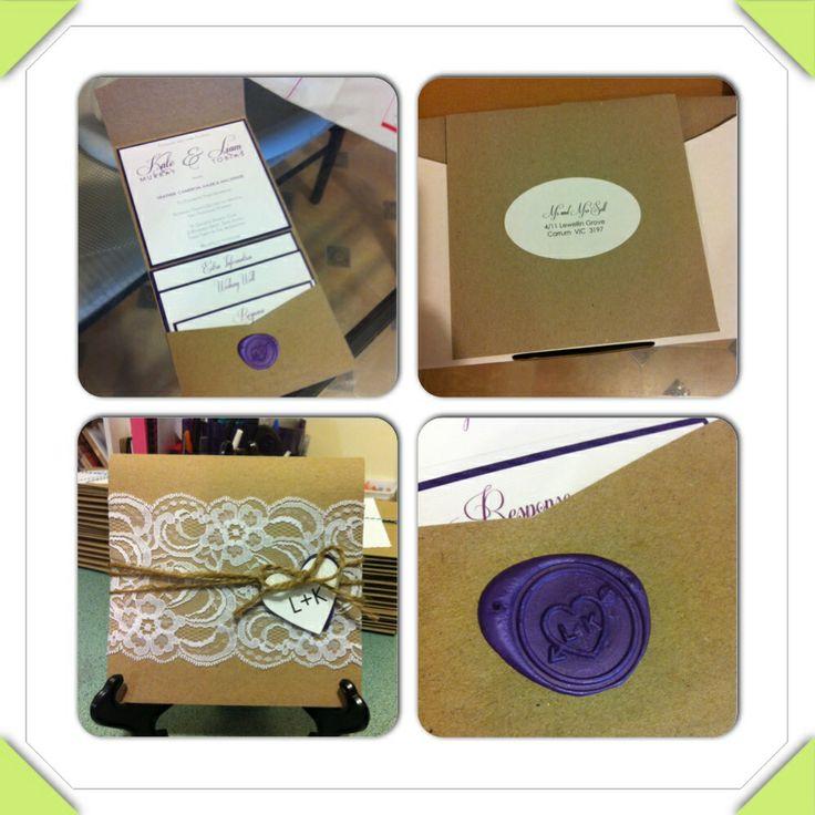 botany pocketfold invitations for rustic/vintage theme wedding made by stationery by heather. #kraft #lace #purple #pocket #wedding #invitation #diy #vintage #rustic