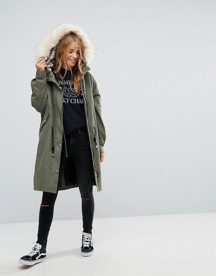 Pull&Bear Longline Parka Jacket With Faux Fur Hood - Green