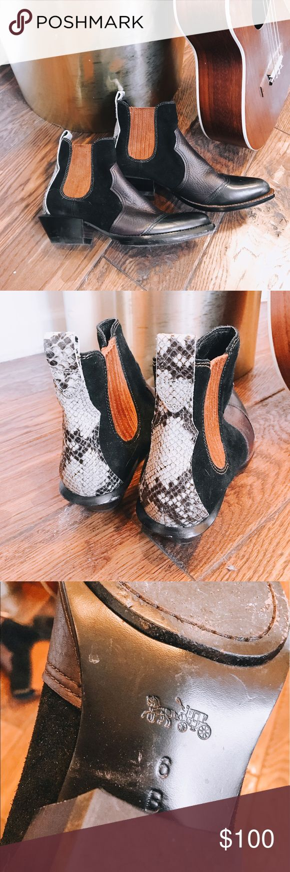 Coach Bandit Chelsea Boot Black, Brown, Purple and Snake print Bandit Chelsea boots from Coach! Size 6! So cute! Coach Shoes Ankle Boots & Booties