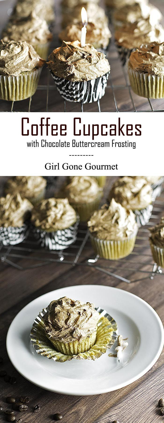 Coffee cupcakes topped with a rich bittersweet chocolate frosting. | girlgonegourmet.com