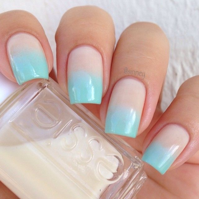 Pretty nude + aqua two tone nails.