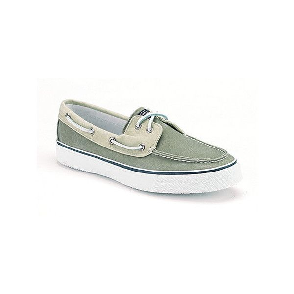 Men's Sperry Top-Sider Bahama - Khaki/Oyster Casual ($60) ❤ liked on Polyvore featuring men's fashion, men's shoes, casual, deck shoes, green, mens boat shoes, mens sperry topsiders, mens deck shoes, mens shoes and mens green shoes