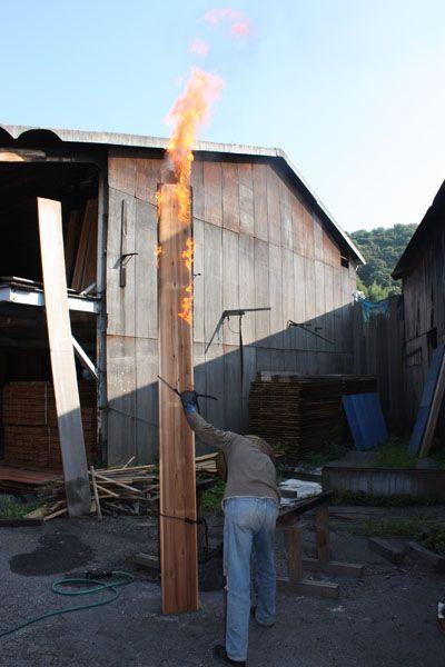 tri corner cone shaped tower. shot sugi ban. Yakisugi
