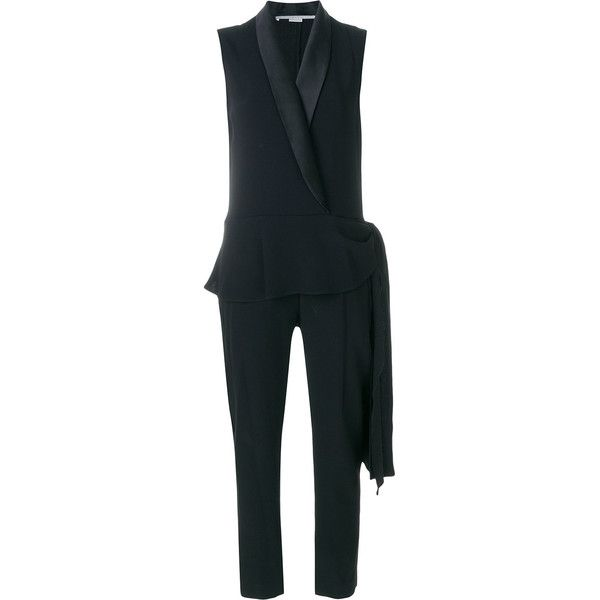 Stella McCartney Quince tuxedo jumpsuit (44.994.175 VND) ❤ liked on Polyvore featuring jumpsuits, black, peplum jumpsuits, shawl collar tuxedo, tux jumpsuit, dinner suit and sleeveless tuxedo