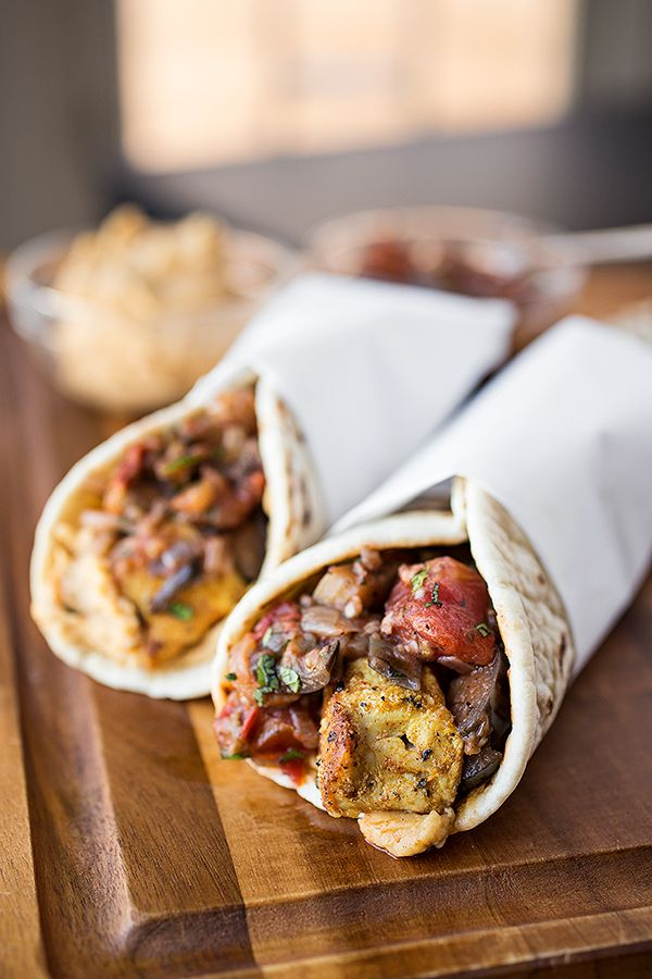 Spiced Moroccan Chicken Wrap, Grilled Eggplant, Tomato & Onion Chutney with Spicy Hummus Spread #recipe